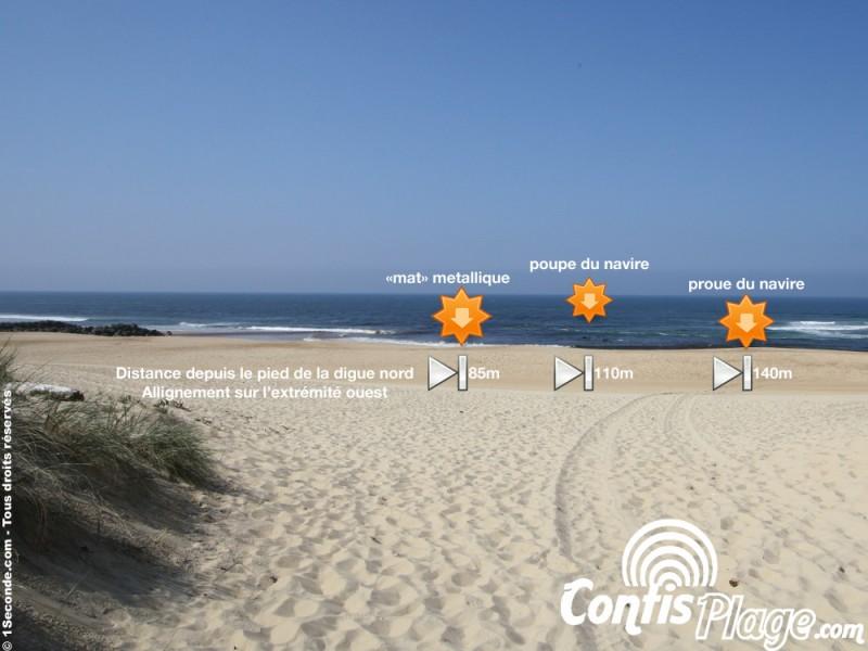 Position de l'épave du Renown sur la plage de Contis