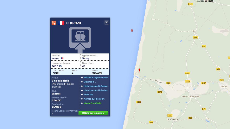 Traffic Maritime au large de la plage de Contis