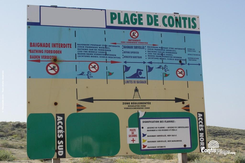 Exemple de panneau indicateur utilisé à Contis durant l'été 2006