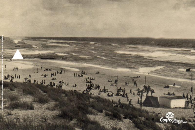 Milieu des années 50 : Plage de Contis et le bunker R612 ba03 sur la plage (source 7)