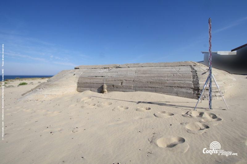 Échelle 2m - face Sud - bunker R612 - Position Ba02 Contis - septembre 2016