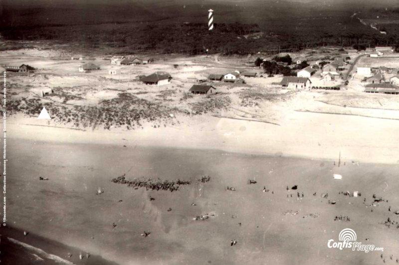 1949 - vue aérienne de la plage et de la position Ba02 (source 2/4/7)