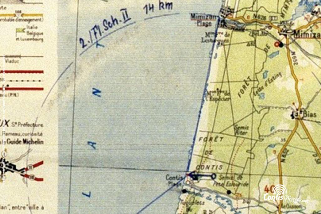 Extrait de carte originale de l'armée Allemande - Distance de tir des canons Flak Contis (source 3)