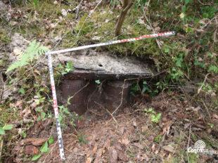Un des 4 encuvements d'obusiers, palplanches métalliques, cachés dans la forêt de La Lette