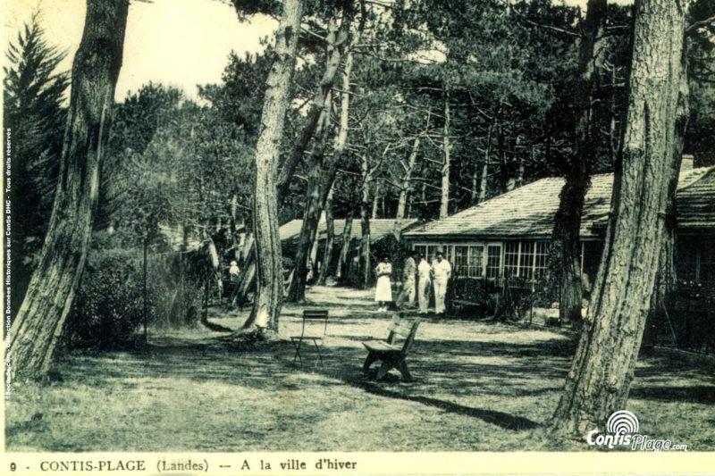 Contis, La Ville d'Hiver avant guerre, le bord du courant de Contis aux Pelindres
