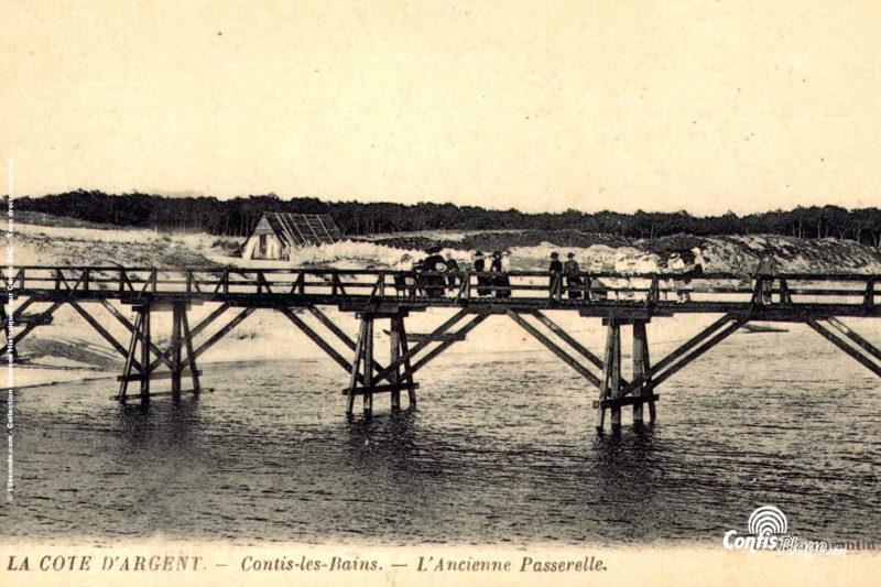 L'ancienne passerelle, sur laquelle fut implantée la passerelle Allemande, puis la digue Est de la baie du courant de Contis (source 7)