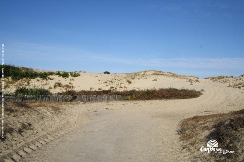 Fin de la piste Ba03 en pied de dune. Plusieurs signatures et symboles sont gravés dans le béton et cachés par le sable