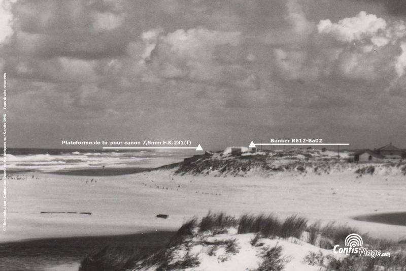 1953 : La plateforme fortifiée de tir à côté du bunker R612-Ba02